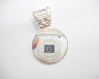 Sterling Pendant, Silver Pendant, Vintage Pendant, Engraveable Pendant, Sterling Silver Highly Polished Engraveable Round Pendant #2751