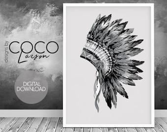 Indian headdress print, tribal decor, tribal wall art, tribal print poster, headdress print, indian home decor, boho wall art, tribal print