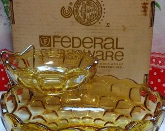 Vintage Federal Glass Colonial Chip'N Dip set