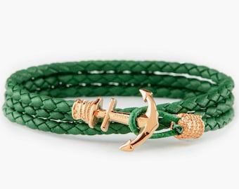 Anchor bracelet, Green leather anchor bracelet, mens bracelet, nautical jewelry, boyfried gift, bracelet homme, gift for him, gift for her