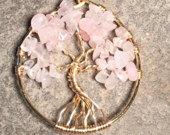 Tree of Life Pendant Rose Quartz