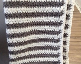 Baby Blanket-White and Grey Striped
