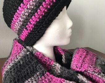Adult Size-Beanie & Infinity Scarf-Black w/Pink/Grey Multi-Colour