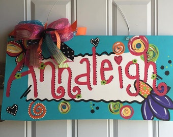 Name Sign, Custom Wood Sign, Personalized Sign, Door Hanger, Hand Painted Sign