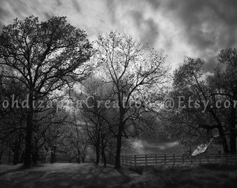 Black and White Landscape Wall Art Photography in Canvas, Metal, or Photo Paper Print; Farm Country at Sunset