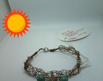wire crochet bracelet w/starfish beads +turqouise beads