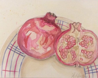 Pomegranates on vintage French plate watercolour painting