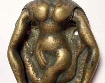 Antique Brass Door Knocker Of Mermaid