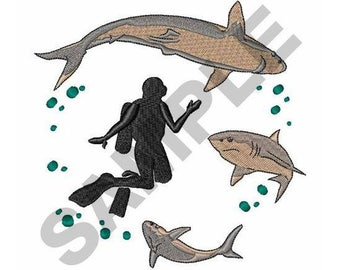 Diver And Sharks - Machine Embroidery Design