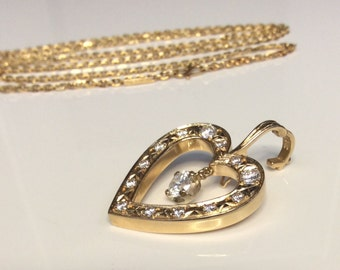 "Estate 14K Yellow Gold 1.6 CTW Diamond Heart Pendant With 18K 24"" Chain"