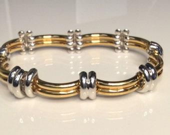 "New, Estate, 18K, Two-Toned, Yellow, White Gold, 7.5"", Italian, Bracelet, 26.7 Grams"
