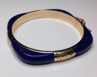 Estate 14K Yellow Gold Hand Engraved Lapis Lazuli Bangle Bracelet 20 Grams