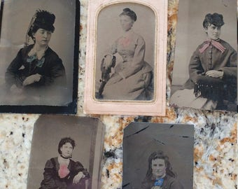 Beautiful Bows of Hand-Tinted Color:  Lot of 5 Antique Tintype Photographs of Women