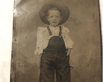 Urban Cowboy:  Antique Tintype Photograph of Young Boy in Overalls