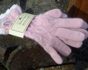 HANDMADE IRISH GLOVES hand-made in Ireland knitted one size accessories gorgeous gift for her or Mother's gift, warm clothing, pastel pink