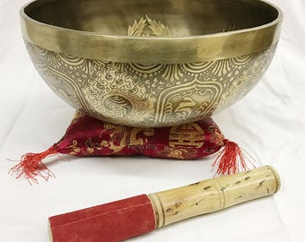 Buddha Big Hand Hammered Hand Etched Singing Bowl/Gong With Stick and Cushion
