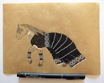 Horse illustration and lace (A5)