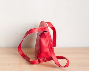 Red Leather Shoulder Bag, Small Crossbody Bag, Leather Satchel, Leather Shoulder Bag, Leather Crossbody Bag, Adjustable Strap, Ready to Ship