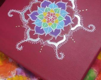 Hand Painted Mandala Canvas/Chakra colours/Chakra work/Meditation/Yoga/Reiki