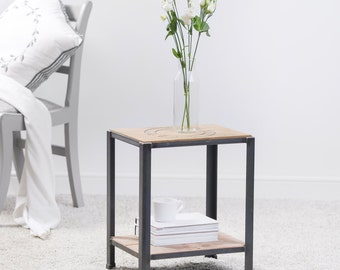 Reclaimed Wood And Steel Side Table, Coffee Table, Side Table, Occasional Table, Reclaimed Wood Table