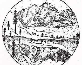 Black and White pen and ink of the Maroon Bells