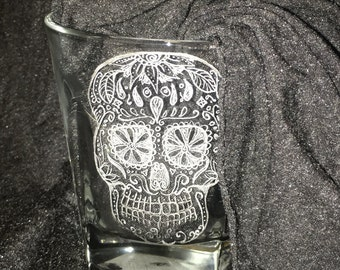 Hand-etched Rocks Glass. Set of 4 or 6 custom designs