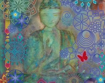 Spiritual card, Greeting card, Magical card: Joyfull Meditation, boedha, yoga, symbolic art, inspiration card