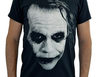 "Mens T-shirt ""Joker Heath Ledger"" Water Colors Screen Print"