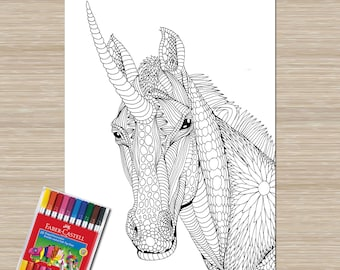 Unicorn Coloring Adult Page Printable