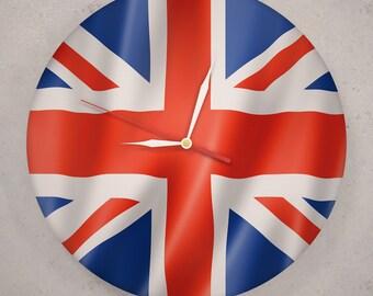 British Flag 12 Vinyl Record Wall Clock Union Jack Decor English Flag