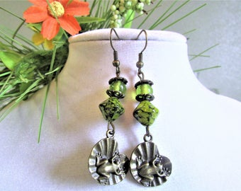 Boho Bronze and Green Beaded Hook Earrings, Retro Dangles, Green Glass Beads, Frog on Lily Pad Charms