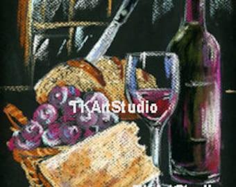 Wine and Cheese Print