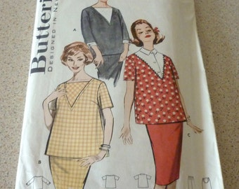 """Vintage Maternity Sewing Pattern Smocks/Skirt with 3 Views Uncut - Size 14 Bust 34"""" Butterick 9189"""