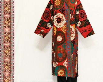 uzbek silk handmade embroidered natural dyed suzani caftan robe chapan jacket coat B150