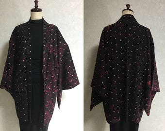 Japanese.old. kimono.free shipping.silk.haori.coat.black.jacket.051.