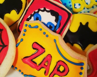 Batman Sugar Cookies/Superhero Sugar Cookies / Comic Book Sugar Cookies