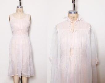 Vintage 50s peignoir set / pink negligee / sheer nightie / nightgown set / 50s lingerie