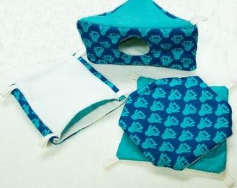 Pack hammock rat - 3 hammocks - corner House - double hammock - customizable - accessory for pets - Duplex