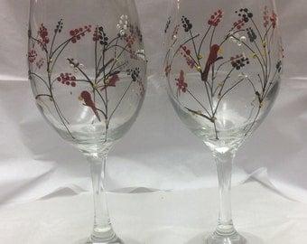 Red Robin Wine Glasses