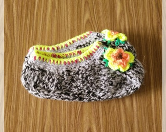 Womans Slippers, Warm Slippers, Purple Slippers, Black Slippers, Knitted Slippers