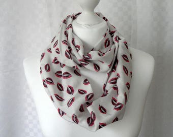 Lips print infinity scarf, Circle scarf, Lips infinity scarf, Scarf for her, Lightweight scarf, Fashion scarf