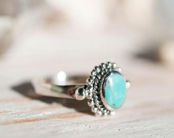 Turquoise Ring ~ Sterling Silver 925 ~ Handmade ~ Everyday ~Statement ~Stackable ~Round Shape ~Gift for her ~Boho ~ Hippie ~Bohemian MR004