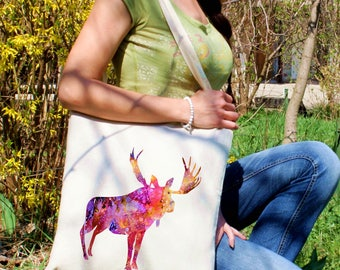 Moose tote bag -  Moose shoulder bag - Fashion canvas bag - Colorful printed market bag - Gift Idea