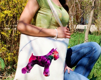 Schnauzer tote bag -  Dog shoulder bag - Fashion canvas bag - Colorful printed market bag - Gift Idea