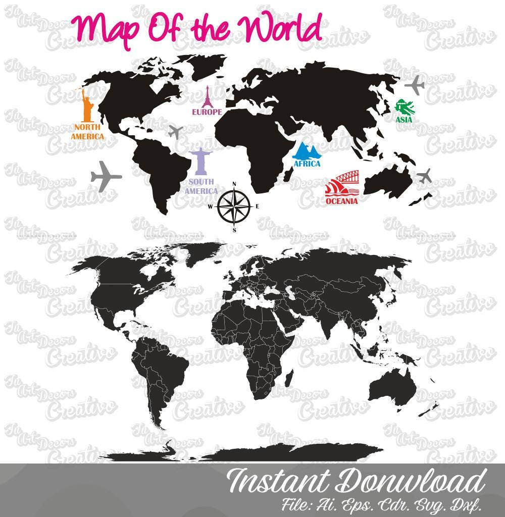 2 world map vector svg world map graphic art cut world map this is a digital file gumiabroncs Images