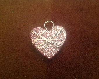 Heart Resin Pink Glitter Necklace Valentines Day Art Gift Wrapped in Silver Colored Wire