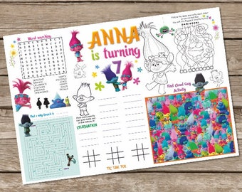 Trolls Birthday Coloring Page, Trolls Activity Mat, Trolls Printable, Placemat, Trolls Table Mat, Trolls Activity Page, Party Game, Placemat
