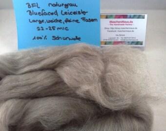 BFL Bluefaced Leicester naturals: grey grey Kammzug fibre spinning lining 100 g