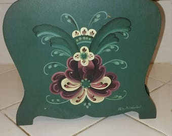Wood Napkin Holder with Rosemaling design
