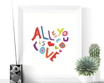 Heart Art | All You Need Is Love Heart Art Printable | Bright Colours | Modern Printables | Colorful Art | Colourful Prints